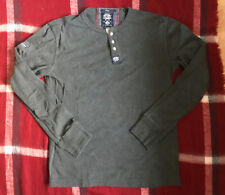 Superdry The Heritage Grandad Jumper T-Shirt L/S Size Large Dark Grey