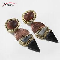 Retro Women Earring Alloy Natural Stone Pendant Dangle Ear Drop Earrings Jewelry