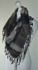 Brown Beige Check Large Square Scarf Long Tassels Lightweight Soft Feel New