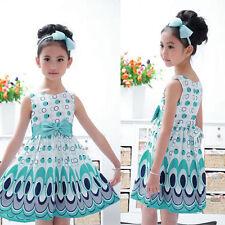 Girls Bow Belt Sleeveless Bubble Peacock Dress Kids Baby Sundress Dresses S