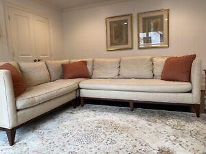 Sherrill, Designer Linen Sectional Sofa, Beautiful!