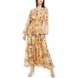 INC International Concepts Maxi Dress Large Regal Blossom Floral Print Peasant