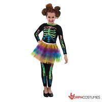 Girls Skeleton Fancy Dress Costume with Neon Tutu Great for Halloween