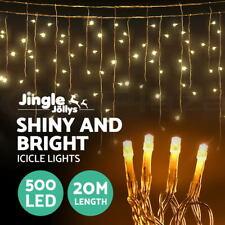 Jingle Jollys 20M Christmas Fairy String Lights Icicle Warm White Wedding 500LED