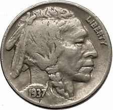 1937 BUFFALO NICKEL 5 Cents of United States of America USA Antique Coin i43870