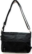 Genuine Leather 3 in 1 Cross body Shoulder Slim Purse w/ Organizer Medium Black