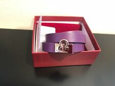 NEW Salvatore Ferragamo Purple Leather Brass Chiaro Wrap Bracelet