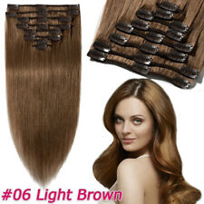 AAA+ Clip In Real 100% Human Hair Extensions Thick Full Head Brown Black US W86