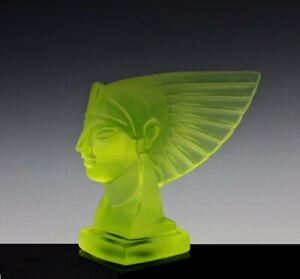 Art Deco 1930' Vaseline Glass Car Mascot Sculpture Hood Ornament H.Hoffmann