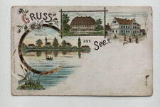 Ak See O.L. bei Moholz Niesky Lithographie Litho Schloss Gasthaus gelaufen