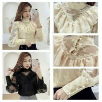 Women Lace Shirt Blouse Ruffle Puff Sleeve Stand Collar Top Gothic Victorian New