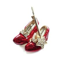 5c50f2d2ed9 New Gold Tone Ruby Red Enamel Crystal Slippers Shoes and Wand Brooch in  Gift Box