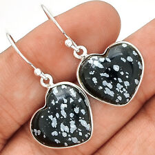 Heart - Snow Flake 925 Silver Earrings Jewelry EE40626