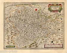 Westphalia ducatus-Sauer país-Westfalia tarjeta de cobre-Map Blaeu 1640