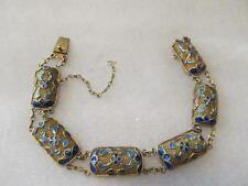 Antique Chinese Enamel Filigree Gold Gilt Silver Bracelet