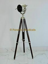 vintage Industrial searchlight or spot light on a wooden tripod - DDY1
