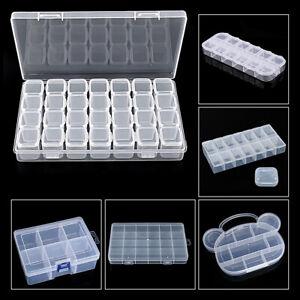 Clear Plastic Container Box Bead Screw Craft Storage Organizer 14/24/28 Slots 1x