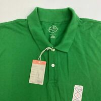 NWT St John's Bay Legacy Polo Shirt Mens XL Green Short Sleeve Hi Low Hem Casual