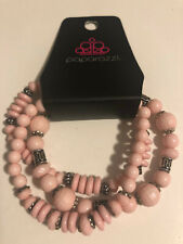 Pink Beads w/Silver Beads New Paparazzi 3 Elastic Bracelets