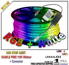 164ft 50m Holiday Lights 110V RGB + W Multi Color LED Strip Lights + controller
