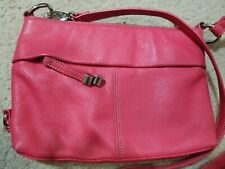 TIGNANELLO Pink Leather Convertible Crossbody Organizer bag With Built In Wallet