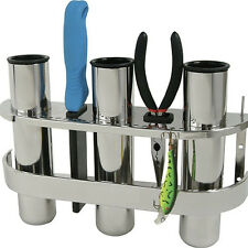 Marine Grade Fishing Rod Holder and Tackle Rack Stainless Steel 3 Tube Holders