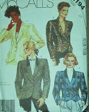 tailored jacket pattern size 10 Vintage 80's classic