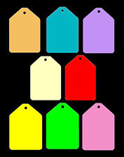 100 Medium Gift Shaped Price Tag Labels Display. Lots of Card Colours Available