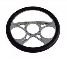 "14"" Chrome Billet Aluminum (9 Hole) Steering Wheel & Half Wrap Black Leather"