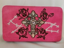 Wallet Country Western Rhinestone Cross roses barbed wire PINK CLUTCH  New