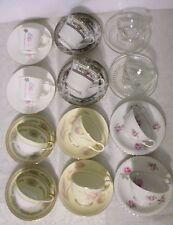 12 Vintage Tea Cups - 6 patterns of 2 each - Mikasa, Bone China, Homer Laughlin