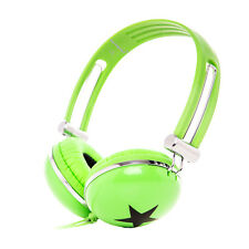 Rockpapa Green Star DJ Style Headphones for Childs Boys Girls Kids Adults Teens