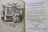 DEVILER Dictionnaire d'Architecture, ou Explications de tous les Termes, 1730