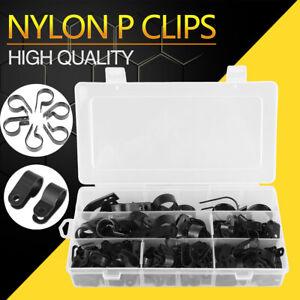 200Pcs Black Nylon Plastic P Clips Clamp Assortment Kit  With A Plastic Box