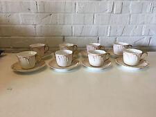 Antique T & V Limoges Porcelain Tresseman Tressemanes Vogt Set 8 Cups & Saucers