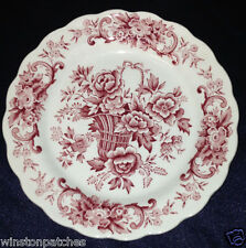 """RIDGWAY ENGLAND OLD ENGLISH BOUQUET 6 1/8"""" BREAD & BUTTER PLATE RED FLOWERS"""