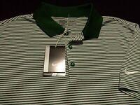 NWT Nike Golf Dri-Fit Mens Medium S/S Green Striped Athletic Polo Golf Shirt New