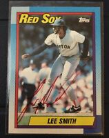 LEE SMITH 1990 TOPPS AUTOGRAPHED SIGNED AUTO BASEBALL CARD 495 RED SOX CUBS