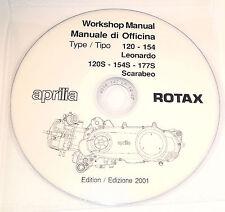 CD MANUALE OFFICINA APRILIA MOT.ROTAX 120 154 177 125 150 200 LEONARDO SCARABEO