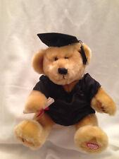 Graduation Bear Plush Stuffed Musical Pomp Circumstance Black Gown Mortar Board