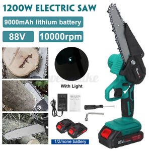 6'' 1200W Cordless Electric Chain Saw Wood Cutter One-Hand Saw Woodworking w/LED