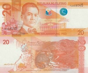 Philippines 20 Piso (2017G) - Colorful note with Civit/p206 UNC