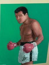 Muhammad Ali Boxing Portrait Framed Signed Oil Painting