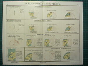 1921 PRINT  PROJECTIONS OF GEOGRAPHICAL MAP STEROGRAPHIC CONIC LAMBERT MERCATORS