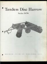 Bush Hog 1436 Tandem Disc Harrow Rare Original Factory Owner's Manual