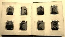 RARE ANTIQUE MINIATURE FAMILY GEM PHOTO ALBUM FOR TRAVELING 1800's 34 TINTYPES