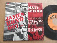 """DISQUE 45T EXTRAIT DE LA BOF AVEC LANGUETTE   """" JAMES BOND 007 REVIENT... """""""