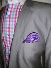 Mens Ted Baker Suit Jacket Blazer Size 40 Grey Cotton Check Sport Coat Cutaway