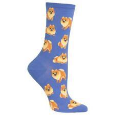 Pomeranian Hot Sox Trouser Crew Socks Periwinkle New Women's 9-11 Dog Fashion