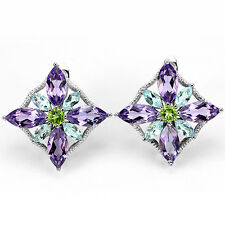 Sterling Silver 925  Blue Topaz, Amethyst & Peridot Flower Cluster Earrings